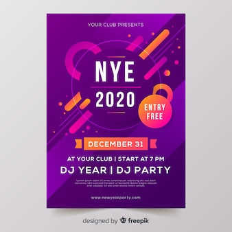 Cartaz de festa de ano novo de design plano 2020