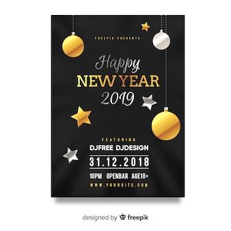 Cartaz de festa de ano novo de ornamentos de prata e ouro