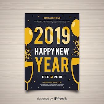 Cartaz de festa de ano novo dourado