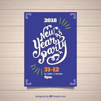 Cartaz de festa de ano novo simples em roxo