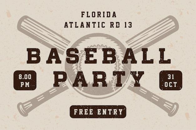 Cartaz de festa de beisebol vintage