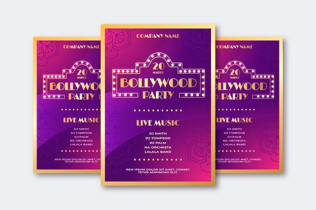 Cartaz de festa de bollywood com letras douradas