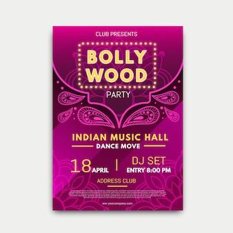 Cartaz de festa de bollywood com modelo de mandala
