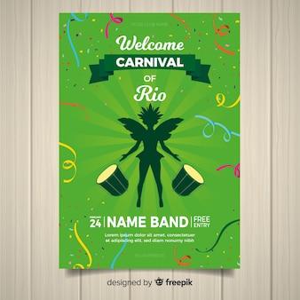 Cartaz de festa de carnaval brasileiro de silhueta de dançarina