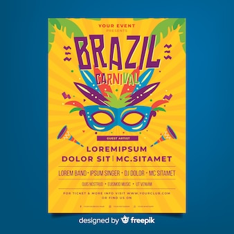 Cartaz de festa de carnaval brasileiro de sunburst