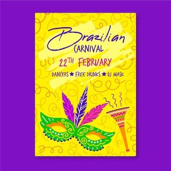 Cartaz de festa de carnaval brasileiro desenhado de mão