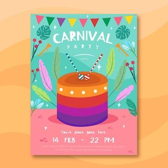 Cartaz de festa de carnaval com bolo e plantas