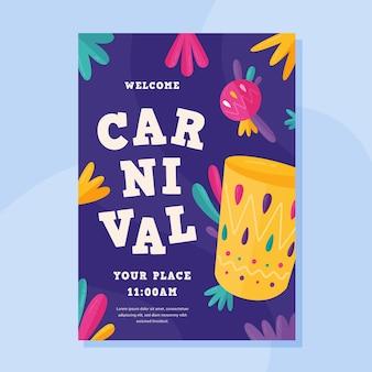 Cartaz de festa de carnaval de design plano