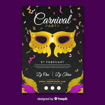 Cartaz de festa de carnaval de máscara de ouro