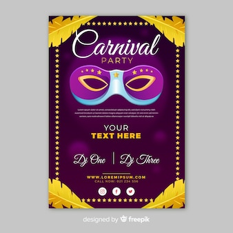Cartaz de festa de carnaval de penas douradas