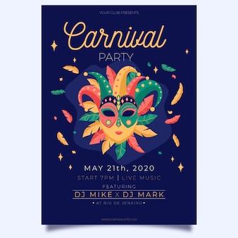Cartaz de festa de carnaval desenhado à mão de máscara teatral