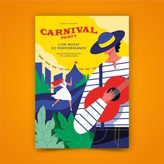 Cartaz de festa de carnaval desenhado de mão