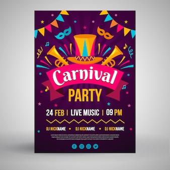Cartaz de festa de carnaval em design plano