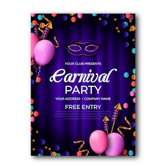 Cartaz de festa de carnaval realista