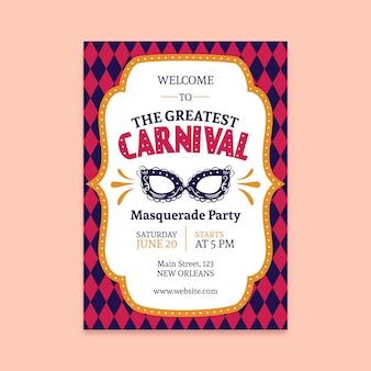 Cartaz de festa de carnaval vintage com máscara