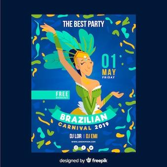 Cartaz de festa de dançarina de carnaval brasileiro de mão desenhada