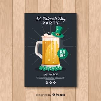 Cartaz de festa de dia de st patrick cerveja mão desenhada
