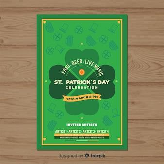 Cartaz de festa de dia de st patrick trevo plana