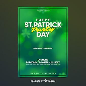 Cartaz de festa de dia de st patrick turva