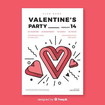 Cartaz de festa de dia dos namorados coração