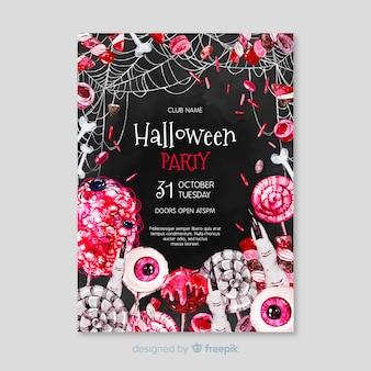 Cartaz de festa de elementos de halloween assustador