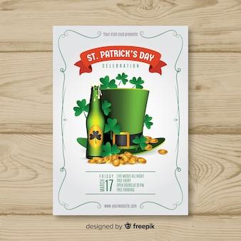 Cartaz de festa de elementos de st patrick realista