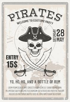 Cartaz de festa de fantasia de piratas com caveira sorridente cruzou sabres no mapa do mundo e bússola, ilustração vetorial