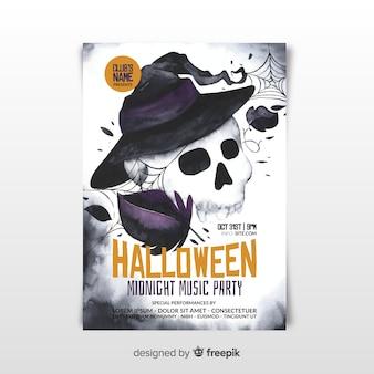 Cartaz de festa de halloween assustador de aquarela