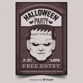 Cartaz de festa de halloween colorido mão desenhada