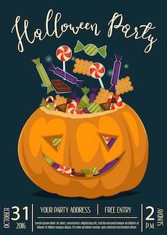 Cartaz de festa de halloween com abóbora assustadora