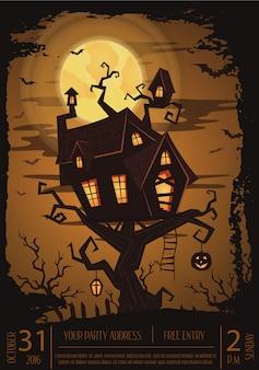Cartaz de festa de halloween com castelo assustador