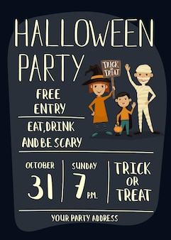 Cartaz de festa de halloween com crianças