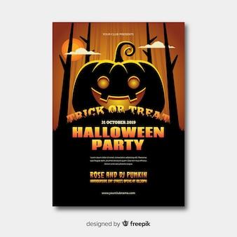 Cartaz de festa de halloween com design plano Vetor grátis