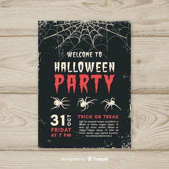 Cartaz de festa de halloween com estilo vintage