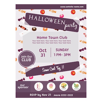 Cartaz de festa de halloween com padrão de doces