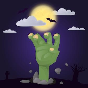 Cartaz de festa de halloween com personagem assustador de mão zumbi assustador. horror noturno