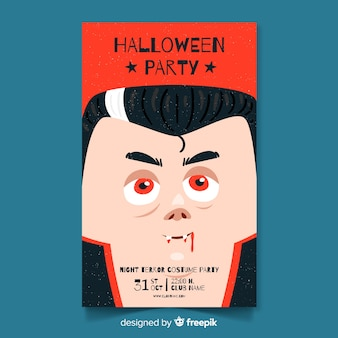 Cartaz de festa de halloween com vampiro desenhado a mão