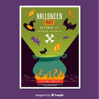 Cartaz de festa de halloween de caldeirão