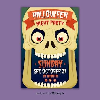 Cartaz de festa de halloween de caveira assustadora de close-up