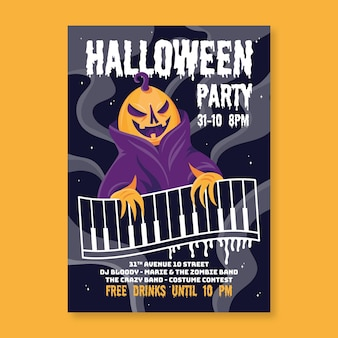 Cartaz de festa de halloween de design plano