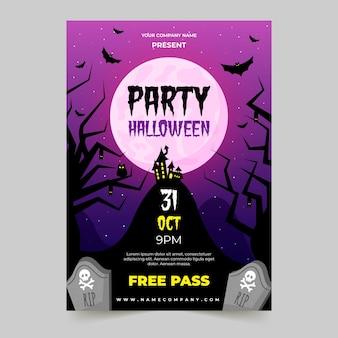 Cartaz de festa de halloween de design plano Vetor grátis