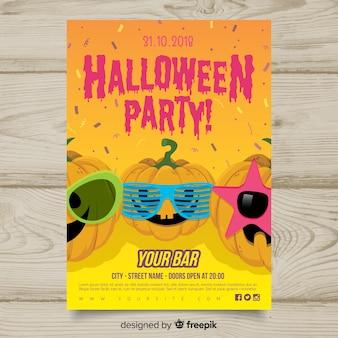 Cartaz de festa de halloween desenhada mão moderna