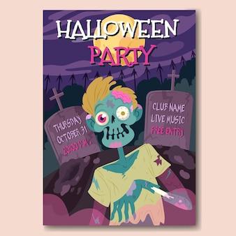 Cartaz de festa de halloween desenhado à mão com zumbi