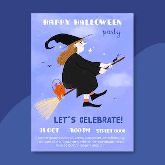 Cartaz de festa de halloween desenhado à mão