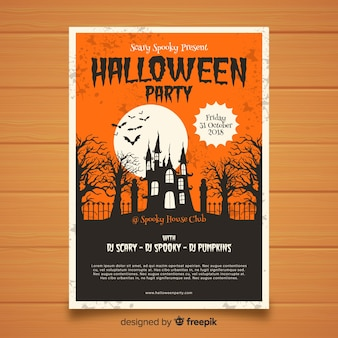 Cartaz de festa de halloween elegante com estilo vintage