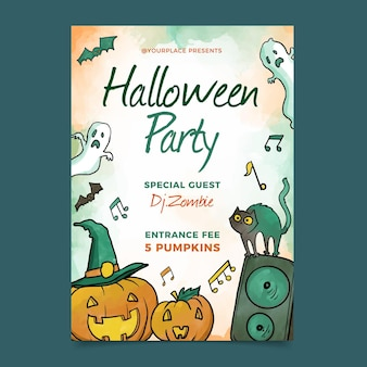 Cartaz de festa de halloween em aquarela