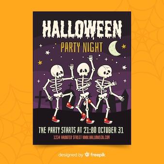 Cartaz de festa de halloween esqueleto a dançar