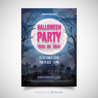 Cartaz de festa de halloween fantástico com design realisitc