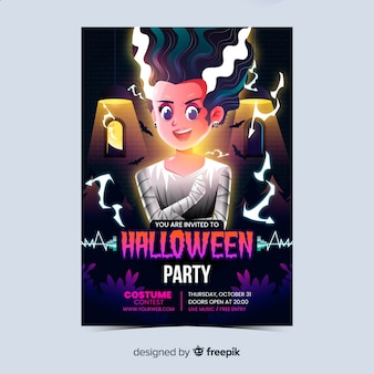 Cartaz de festa de halloween realista