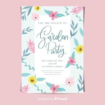 Cartaz de festa de jardim de flores em aquarela